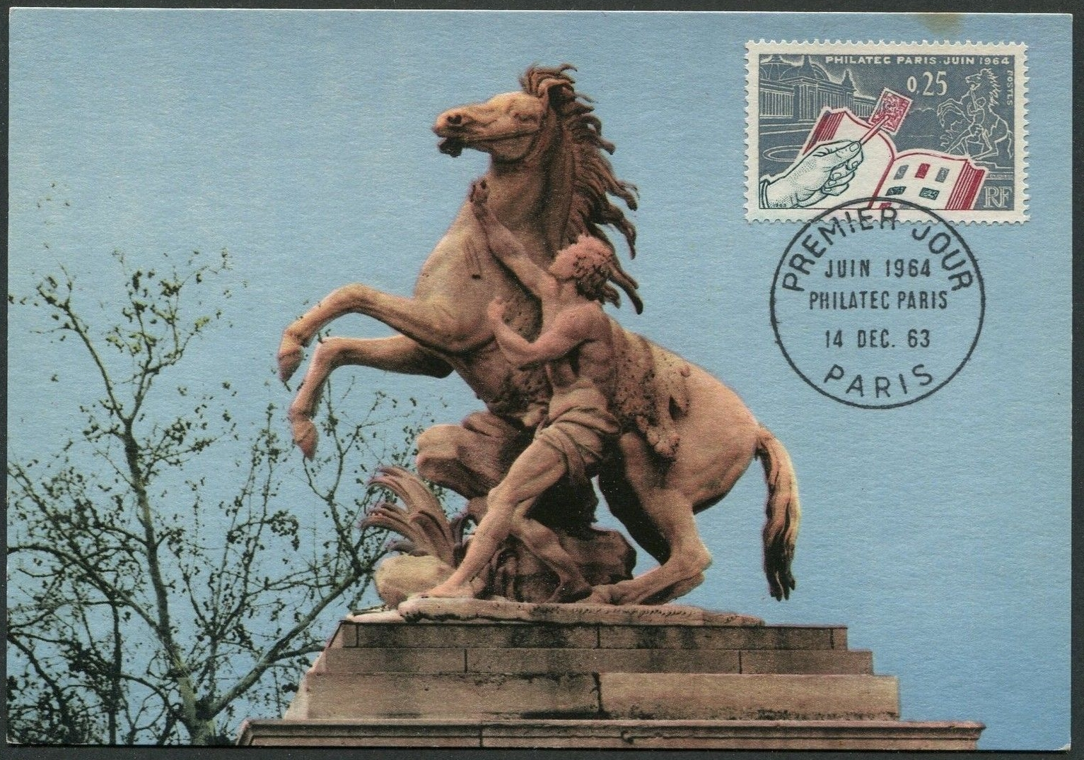 France - Scott #1078 (1963) - first day of issue maximum card picturing one of the Horses of Marly