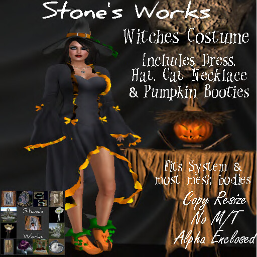 Witches Costume w Pumpkin Boots Stone's Works - TeleportHub.com Live!