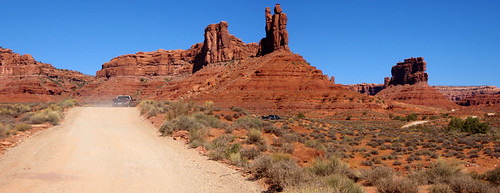 Buttes of red sandstone at Valley of the Gods