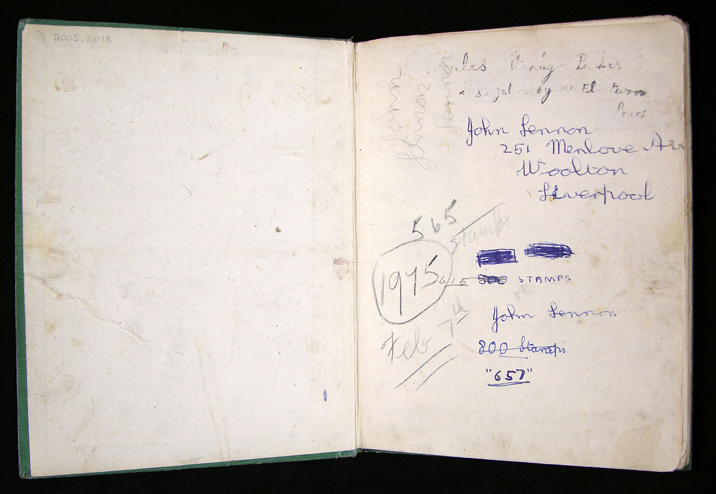 Front flyleaf of John Lennon's stamp album where he wrote his name and address and kept wrote the total number of stamps contained within.