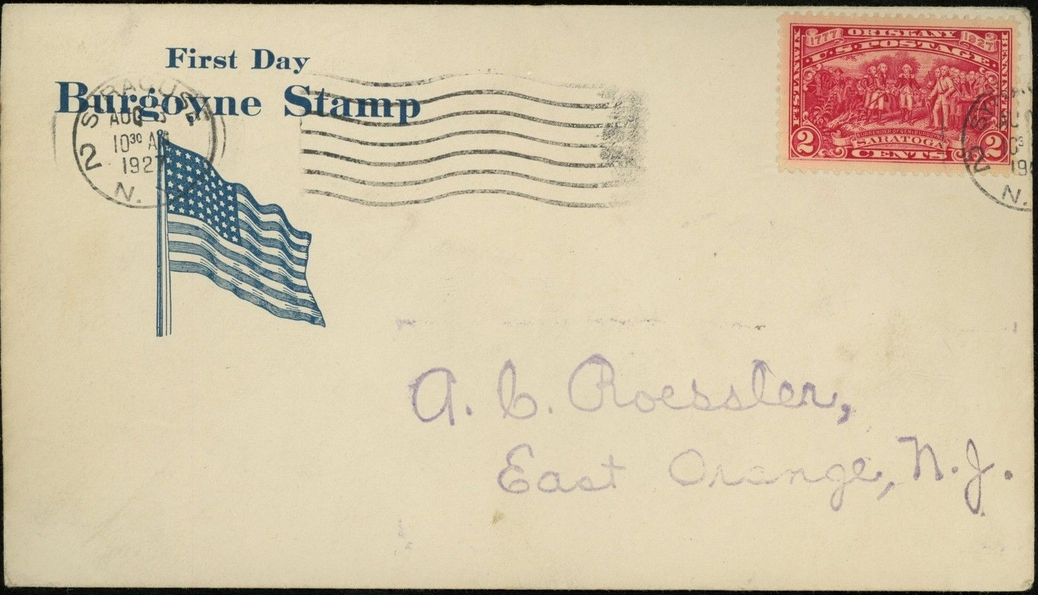 United States - Scott #644 (1927) first day cover postmarked at Syracuse, New York, August 3, 1927. Roessler cachet.
