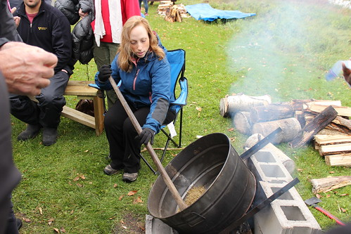 <p>Upper Canada College's Liz Jankowski learning how to harvest wild rice</p>