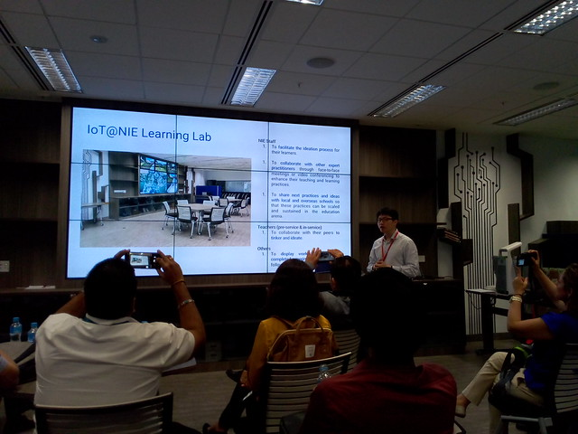 Flip-up shelf for laptop at the IoT@NIE Learning Lab at National Institute of Education, Nanyang Technological University