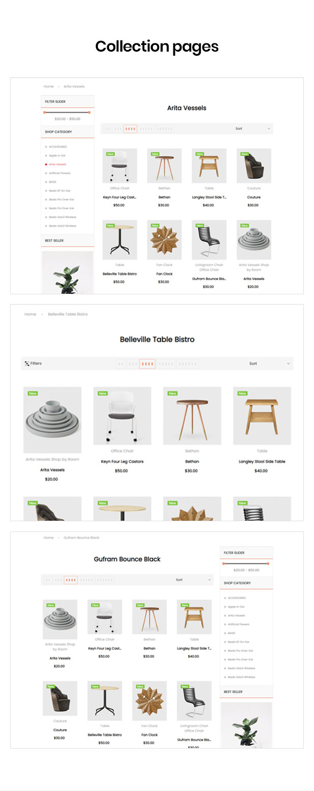 shopify theme multiple for categories page