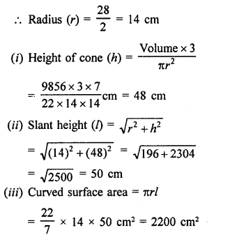 RD Sharma Class 9 Chapter 20 Surface Areas and Volume of A Right Circular Cone