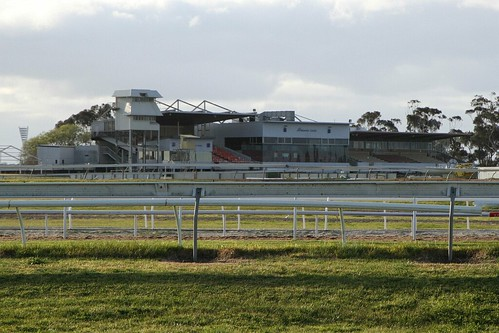 Grandstands at Geelong Racecourse viewed from Fellmongers Road