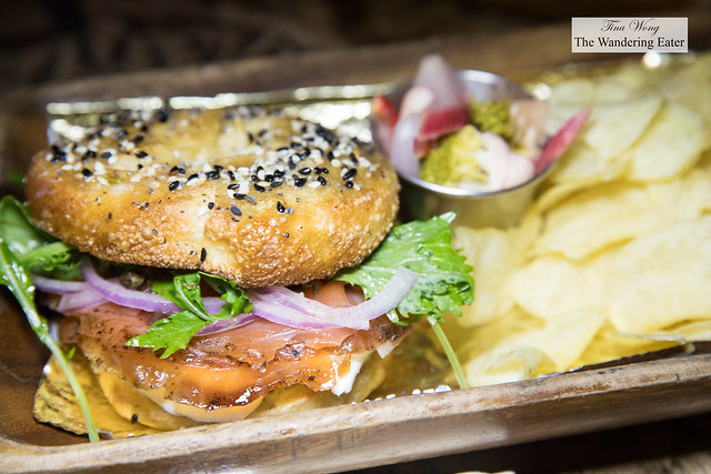 Bagel & Lox Lunchbox - House-made Everything bagel, gin & dill cured salmon, chips