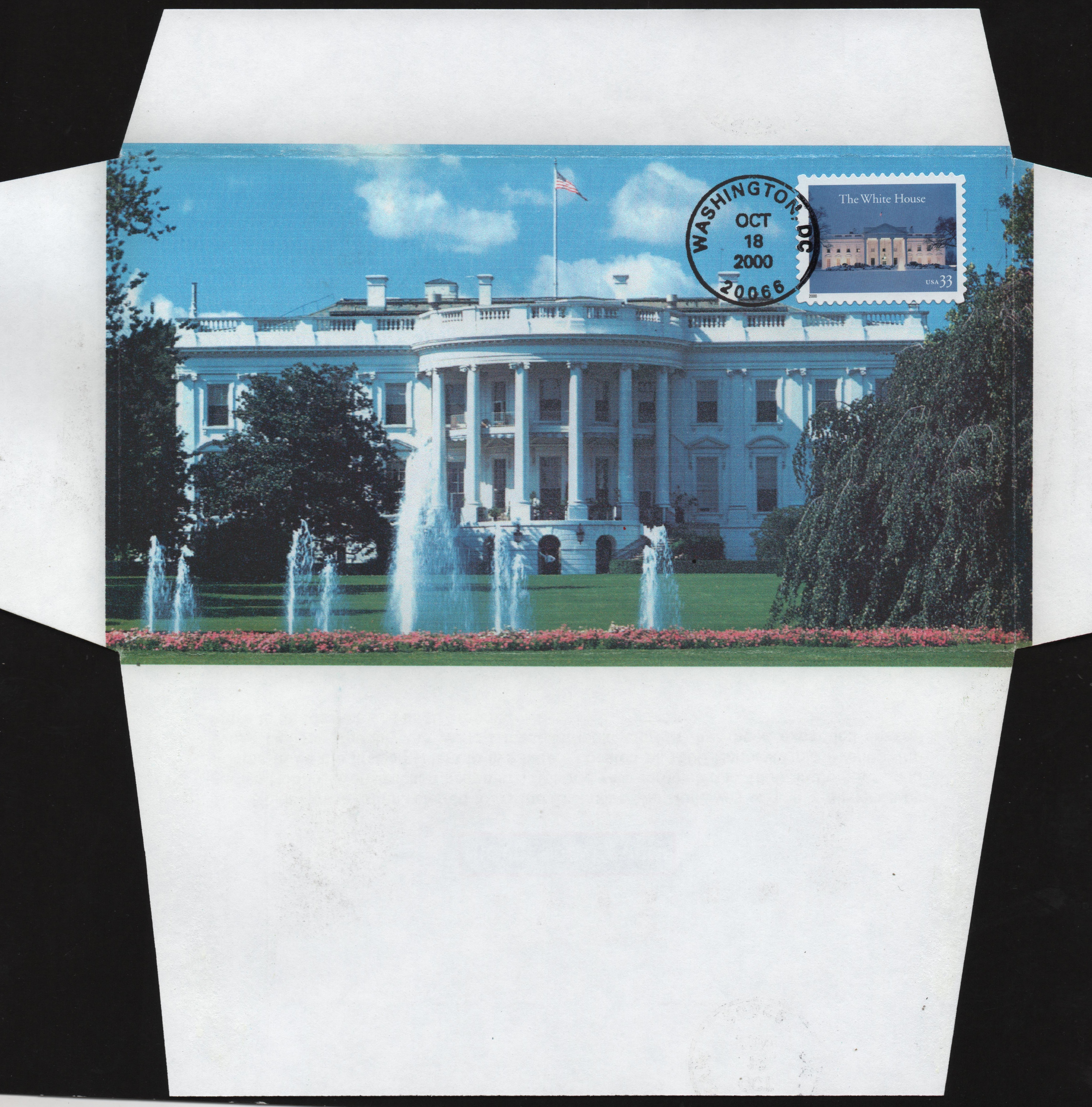 United States - Scott #3445 (2000) first day cover; opening the envelope flaps on this cover reveals an image ot the south portal of the White House in Washington, D.C.