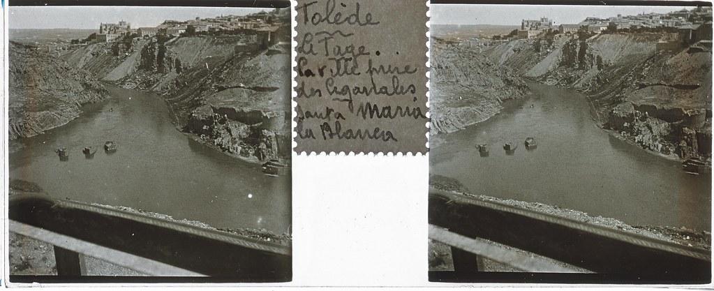 Vista del Tajo y los Molinos de Daicán  hacia 1935. Cristal estereoscópico de autor anónimo francés. Colección de Eduardo Sánchez Butragueño