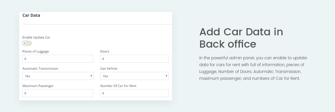 Add Car data in back office - Prestashop module for Rent Car Website