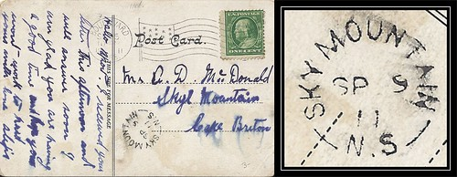 Nova Scotia / Cape Breton Postal History - 9 September 1911 - Boulevard, Massachusetts, USA to SKY MOUNTAIN (Inverness County), Nova Scotia (split ring / broken circle cancel / postmark)