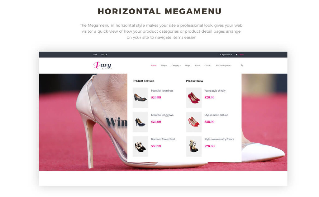 horizontal mege menu -Leo Party Girl - Shoes and Fashion Prestashop 1.7 theme
