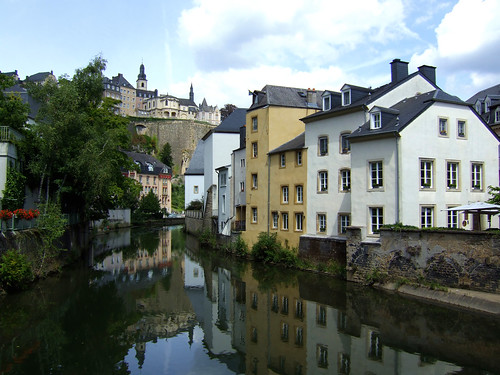 houses on river banks in the Grund in Luxembourg