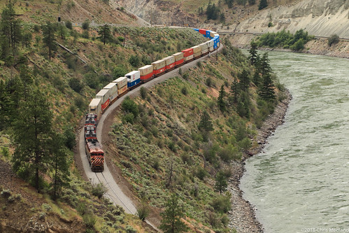 train railway railroad mainline river canyon containers cnr bcr cpr thompson