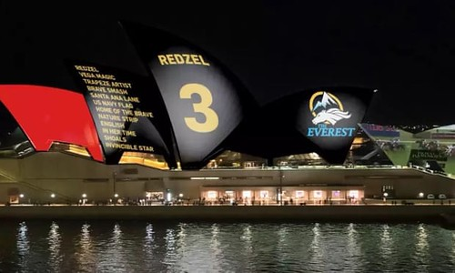 Sydney Opera House with renderings showing horse racing promotion displayed on its sails
