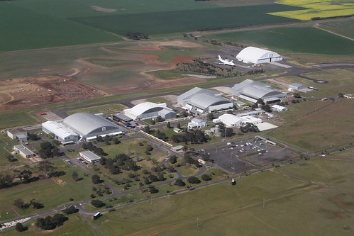 Looking down on the hangar complex at Avalon Airport