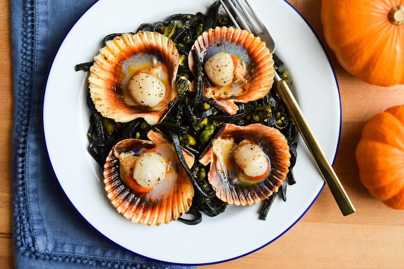 Halloween Scallops with Squid Ink Spaghetti & Pistachio Pesto