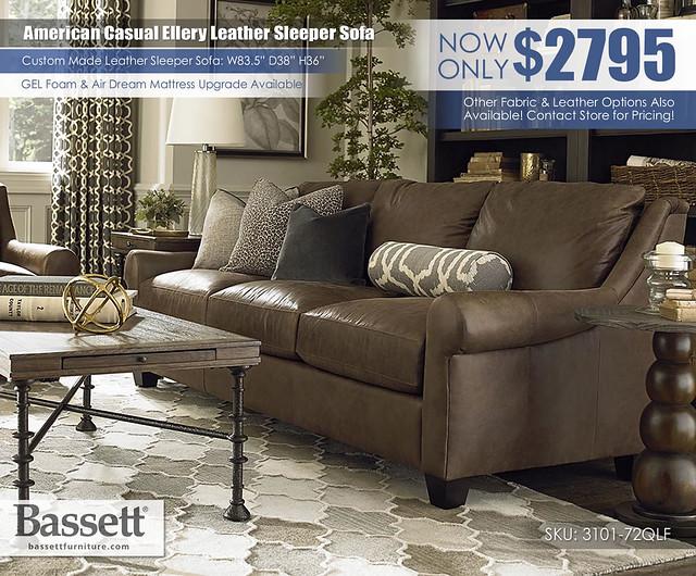 American Casual Ellery Leather Bassett Sleeper Sofa_3101-72LF