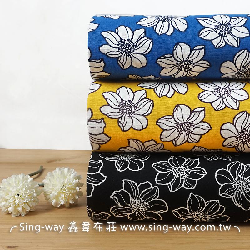 富士櫻 花朵 大朵花 箱根櫻 名豆櫻 山櫻 滿版花卉 手工藝DIY布料 CF550717