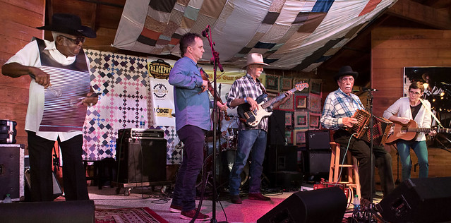 Goldman Thibodeaux and the Lawtell Playboys, Blackpot Festival, Vermilionville, Lafayette, Oct. 27, 2018: Zydeco Joe Citizen, Louis Michot, Barry Cormier (on drums), Lee Tedrow, Goldman Thibodeaux, Courtney Jeffries