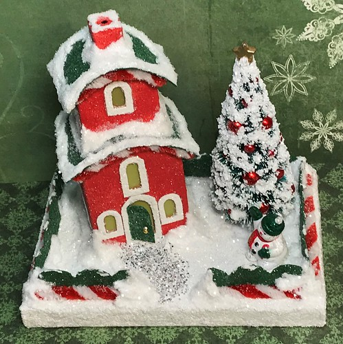 Red and Green 2-story Putz House with snowman