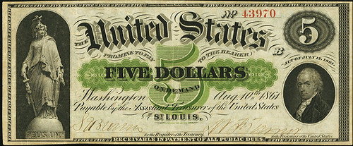 $5 1861 St. Louis Demand Note front