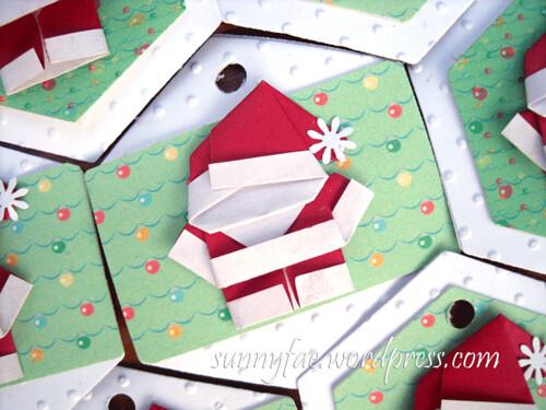 origami santa tags