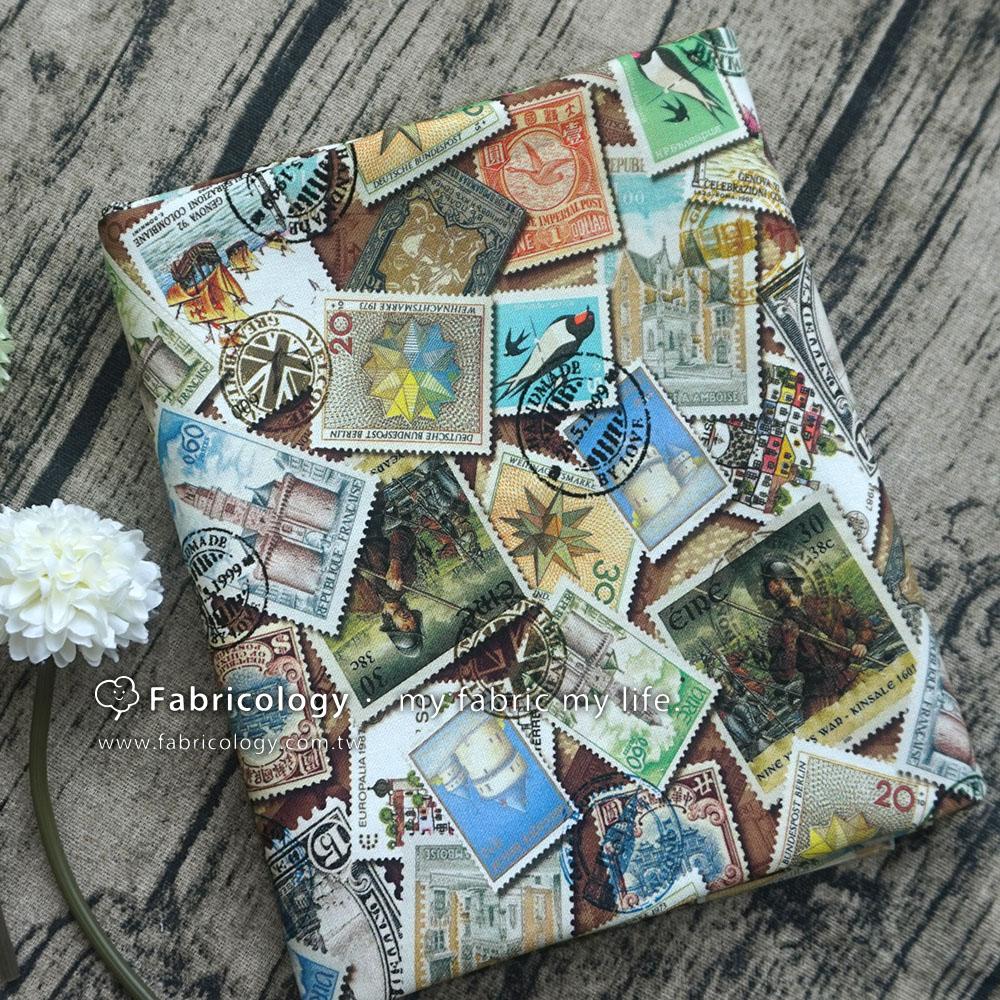 布學盒裝印花布(1y)復古郵票 手工藝DIy拼布布料 SW001809-2