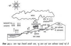जल चक्र जिसमें सतही जल, भूजल एवं जल तालिका दर्शाई गई है