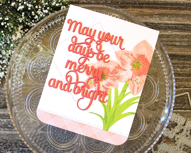 LizzieJones_PapertreyInk_October2018_BloomingAmaryllis_SayingItSimply_Merry&BrightCard