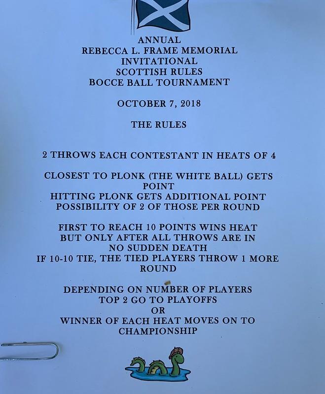 Annual Rebecca L. Frame Memorial Invitational Scottish Rulles Bocce Ball Tournament