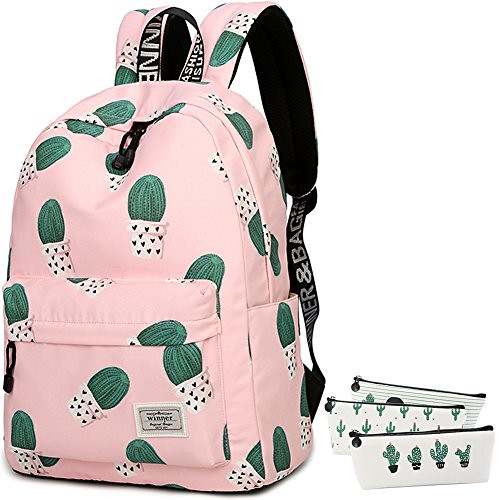 School Bookbag for Girls, Cute Cactus Water Resistant Laptop Backpack College Bags Women Travel Daypack + 3 Pieces Canvas Cactus Pencil Cases For Sale