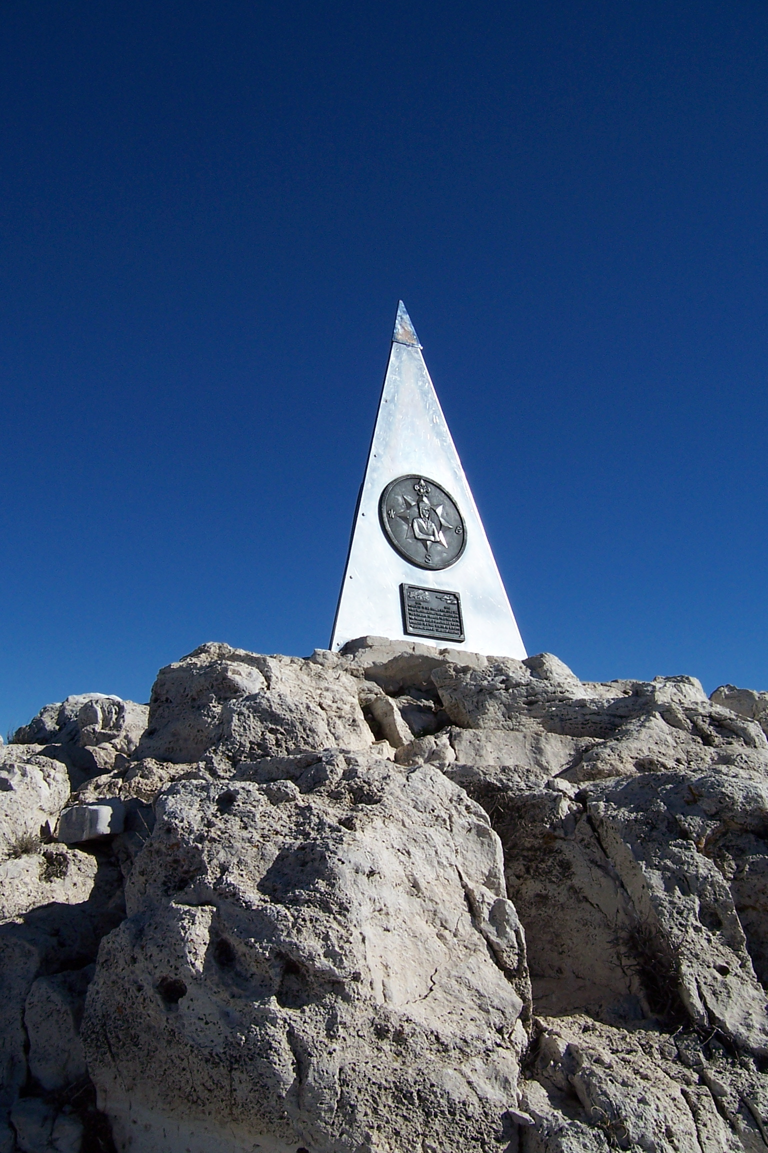 Guadalupe Peak summit, with a pyramid commemorating the 100th anniversary of the Butterfield Overland Mail. Photo taken on March 12, 2005.