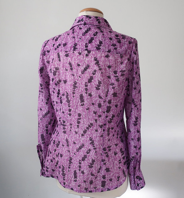 purple liberty shirt back view on form