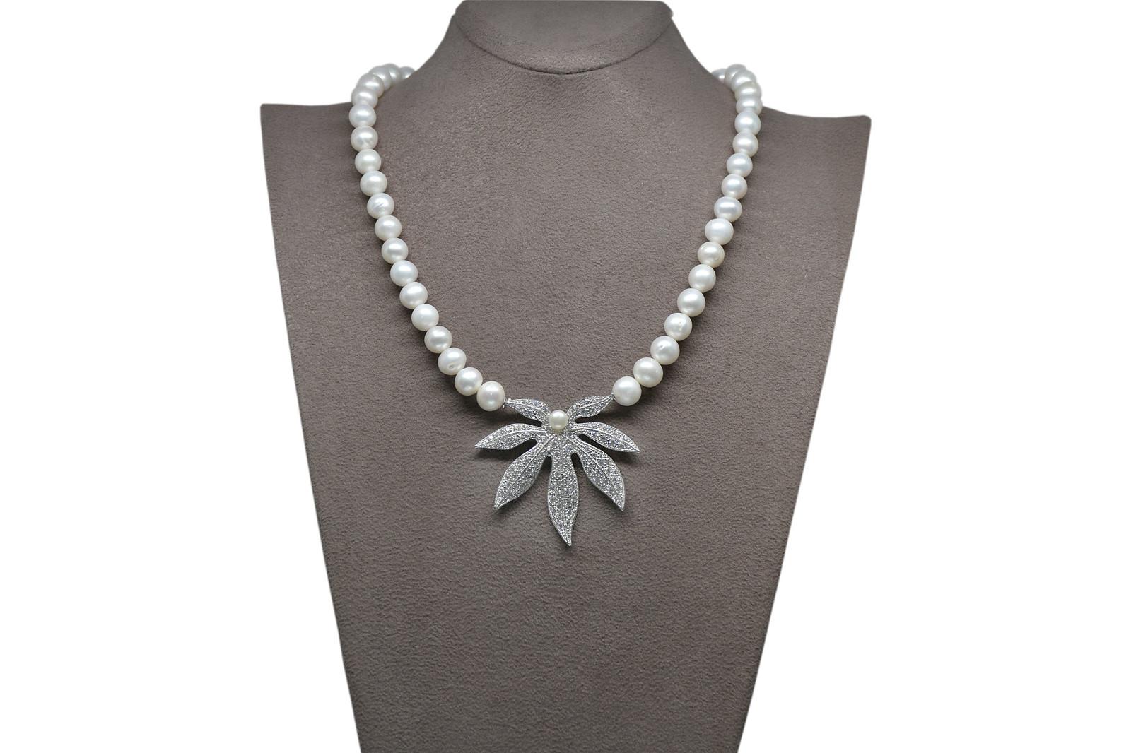 - Ahsen 925K Gümüş Klipsli Doğal Beyaz inci Kolye AH-00091