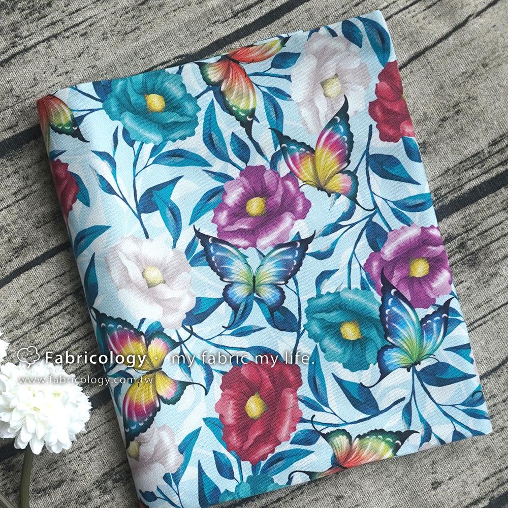 布學盒裝印花布(1y)花語蝶-淺藍 手工藝DIY布料 SW001809-12