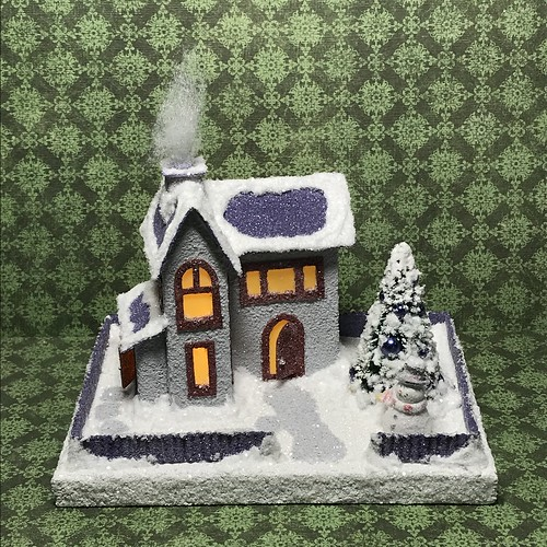 Grey and purple Putz house with snowman