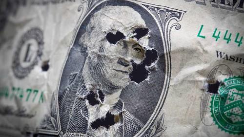 Damaged dollar bill