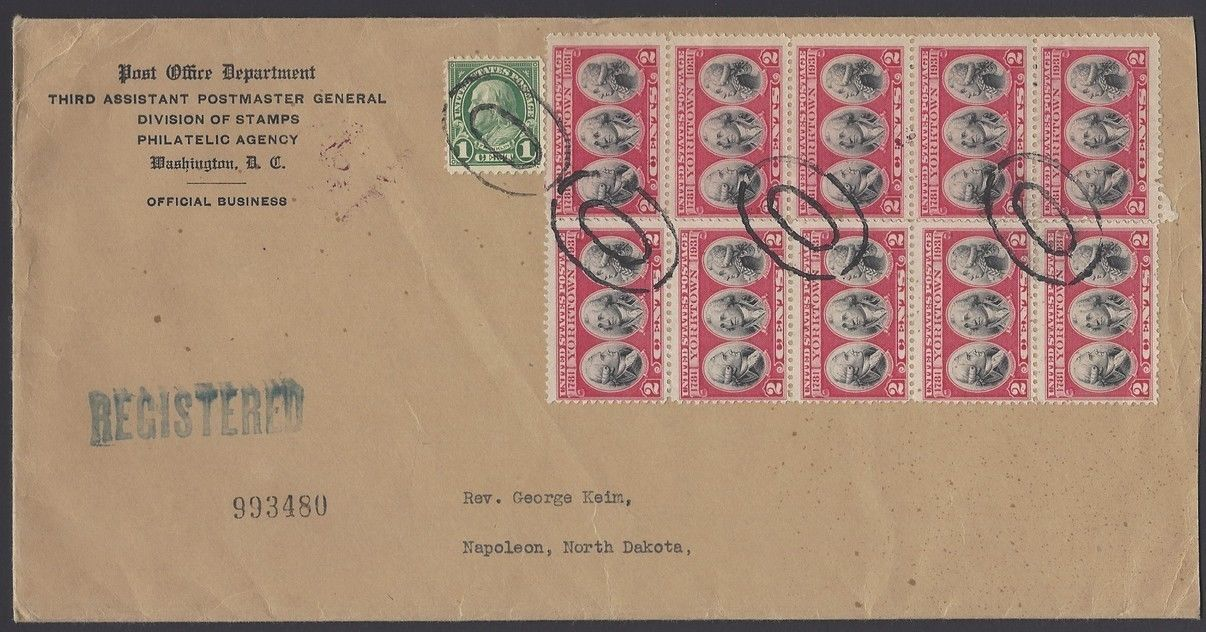 United States - Scott #703 (1931) - Registered Mail envelope from U.S. Post Office Department bearing 10 copies of the 1931 Yorktown commemorative plus 1 1-cent Benjamin Franklin definitive stamp