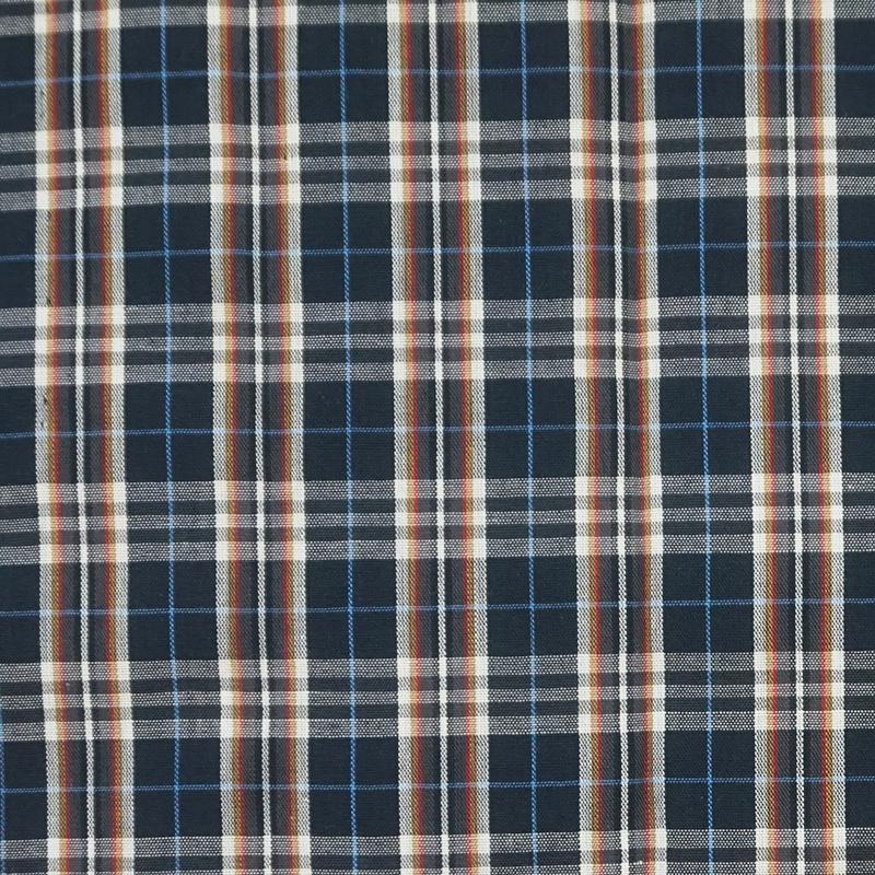 深藍紅白咖線格紋 襯衫洋裝服裝布料 FC590268