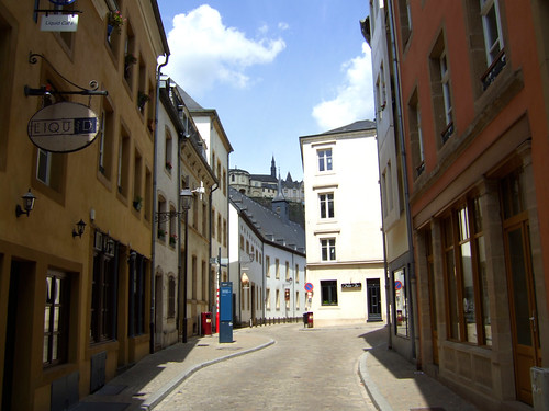 colourful houses in the Grund in Luxembourg
