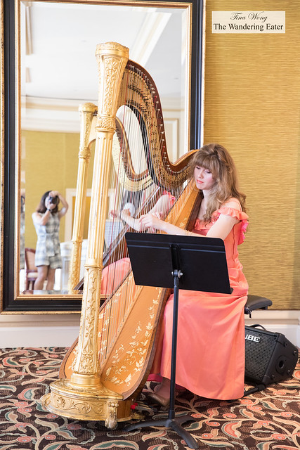 Harpist playing during afternoon tea