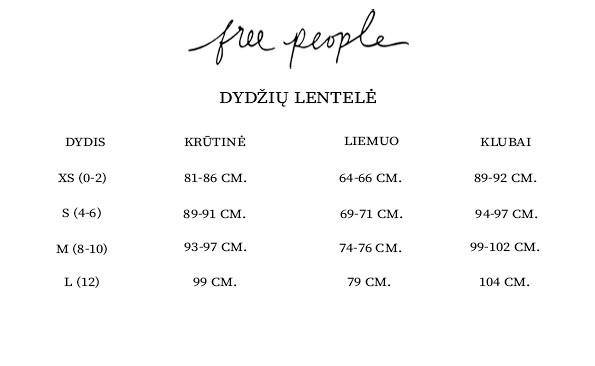 Free People dydžių lentelė