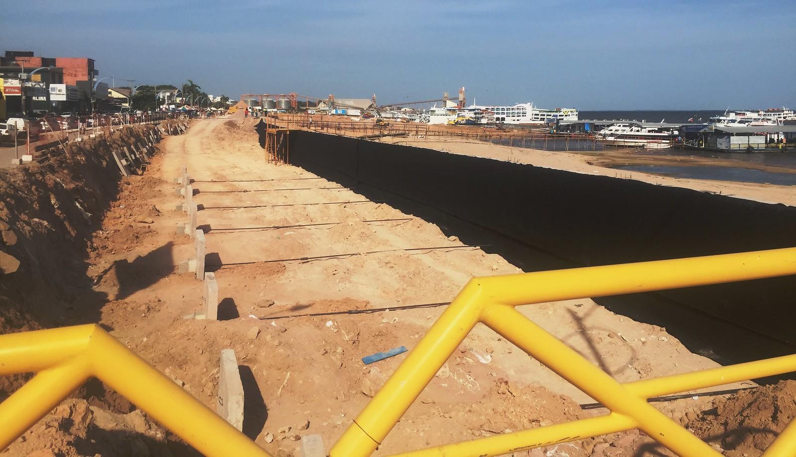 Obras na orla de Santarém chega a 70% de execução; Seminfra monitora o serviço, Obras da orla de Santarém