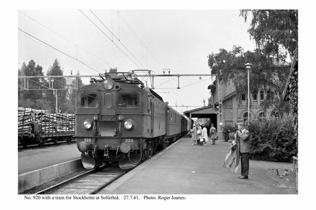 Sollefteå. No. 920 & train for Stockholm. 27.7.61 near Multrä TV Mast