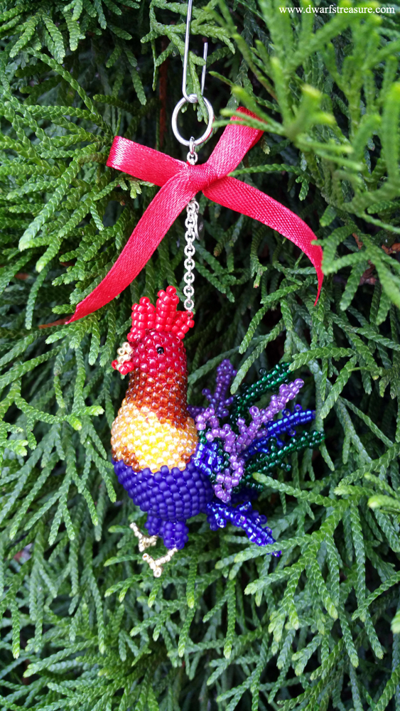 Beautiful beaded rooster charm for decoration