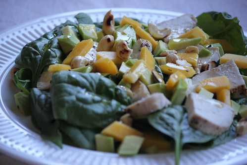 Chicken, mango, cashew salad