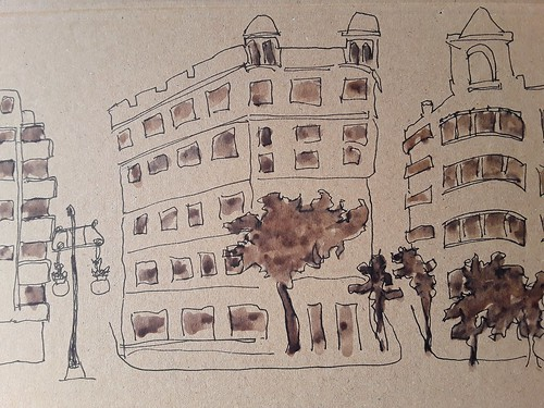 Pen and Wash on cardboard.  View from El Puente Real. Valencia.