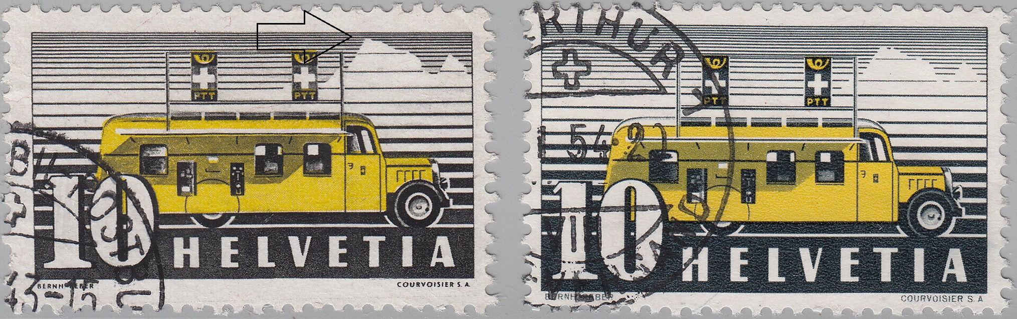 Switzerland - Scott #237 (1937) on the left and Scott #307 (1946) on the right.