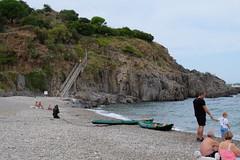 Collioure, plage de l' Ouille, exercice militaire du centre national d'entrainement commando